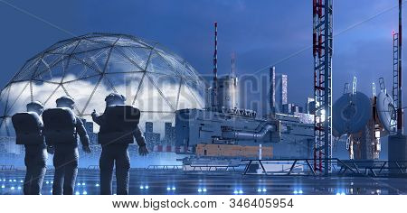 Science fiction city on an alien planet with technological structures architecture and astronauts pointing to a terraforming dome, for video games or futuristic 3D illustration backgrounds. stock photo