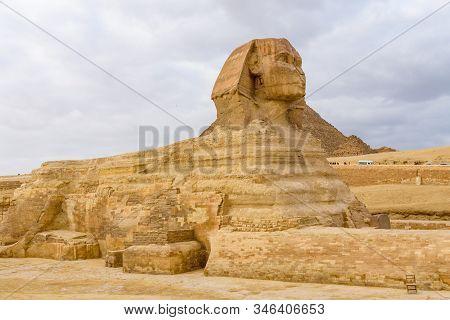 Great Sphinx in Giza plateau. Cairo, Egypt stock photo
