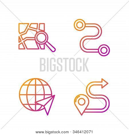 Set line Route location, Location on the globe, Folded map with location marker and Route location. Gradient color icons. Vector stock photo