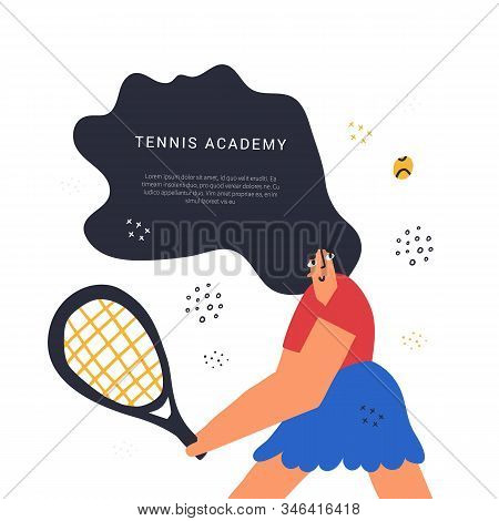 Tennis academy class hand drawn banner template. Sport racquet game lesson poster flat vector layout with text space. Backhand shot technique. Sportswoman training, hitting ball cartoon character stock photo