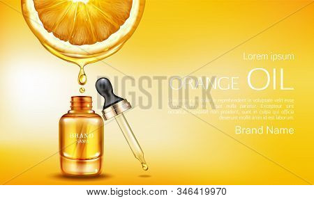 Orange oil cosmetics bottle with pipette ad banner. Vitamin organic anti aging serum, fruit acid product package mockup background. Natural eco skin care cosmetic. Realistic 3d illustration stock photo