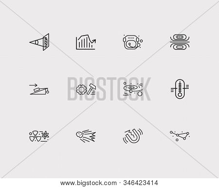 Science icons set. Cosmology and science icons with nuclear physics, flying meteor and experiments in physics. Set of chemistry for web app logo UI design. stock photo