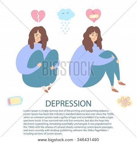 Upset and depressed women with broken heart hug legs. Set of sad and depressed girls sitting. Heartbreak and sad flat icons. Concept of stress, sadness, depression, metaphor. Flat - Vector stock photo