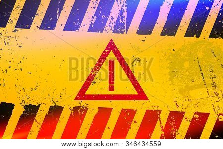 Hazard warning attention sign. Dangerous area and hazard. stock photo