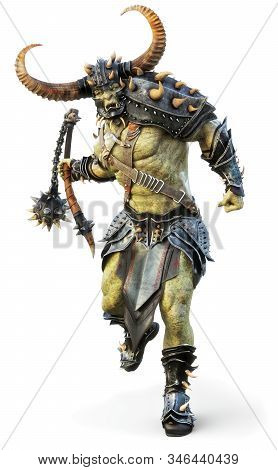 Savage Orc Brute leader running into battle wearing traditional armor and equipped with a flail  . Fantasy themed character on an isolated white background. 3d Rendering stock photo