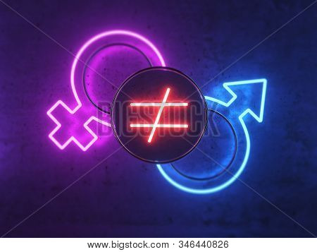 3D illustration on the topic of gender inequality. Neon icons for men and women. Icon of inequality. The difference between a man and a woman. Domestic problems. 3D rendering and 3D illustration. stock photo