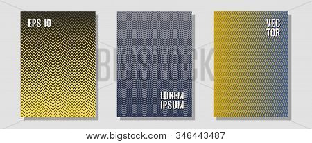 Abstract shapes of multiple lines halftone patterns. Minimal booklets. Zigzag halftone lines wave stripes backdrops. Balanced posh mockups. Cool abstract shapes gradient texture backgrounds. stock photo