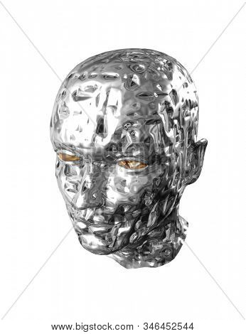 Silver disrupted damaged face of terminator isolated (3d illustration) stock photo