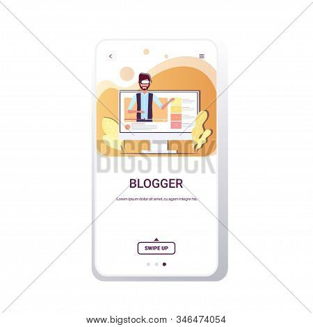 technology blogger wearing vr goggles headset man testing virtual reality digital glasses recording video live streaming blogging concept smartphone screen online mobile app portrait vector illustration stock photo
