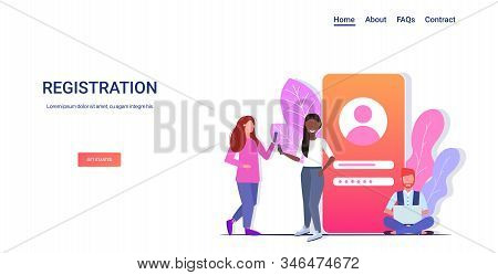 people login to social media apps mobile or computer application mix race users typing entering username and password online registration concept full length horizontal copy space vector illustration stock photo