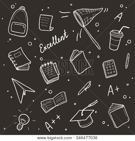 Hand Drawn Set Of College, School Study Element And Good Grades. Concept Of Excellent Grades, Educat