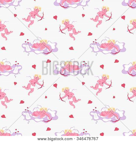 Seamless pattern with Playful Cupid sleeping on cloud, aim an arrow from archery, sprinkles with hearts. Symbol of love for Valentines day fabric, textile, wrapping paper Flat Art Vector illustration stock photo