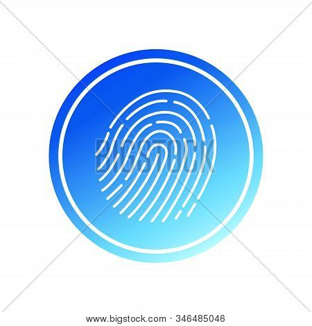 Abstract thin line touch id logo. Concept of identification sign like fingermark labyrinth. Flat simple fashion logo. Graphic design of the art app in a circle with gradient neon fill. stock photo