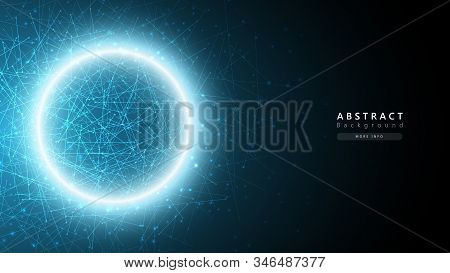 blue abstract cosmos technology background,big data analysis concept,data particles science transfer,futuristic atomic background stock photo
