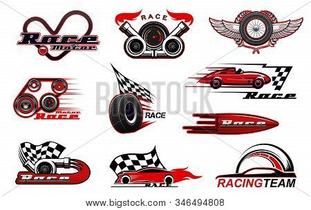 Car motor race and motorsport icons. Vector racing symbols, badges with checkered flag, winged wheel, sport vehicles, speedometer and tyre, turbine and wreath, wings. Racing sport, speed icons stock photo