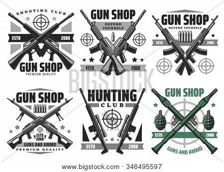 Gun shop and hunting ammo, equipment store vector icons. Military ammunition, rifles and shotguns, revolvers, aims and targets. Self protection and defence, bullets trigger ammo stock photo