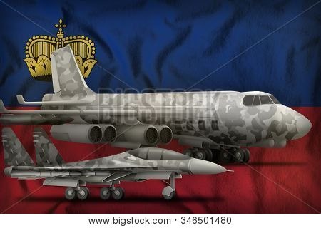 air forces with grey camouflage on the Liechtenstein flag background. Liechtenstein air forces concept. 3d Illustration stock photo