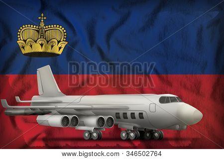bomber on the Liechtenstein flag background. 3d Illustration stock photo