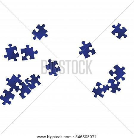 Abstract crux jigsaw puzzle dark blue pieces vector background. Group of puzzle pieces isolated on white. Strategy abstract concept. Jigsaw pieces clip art. stock photo