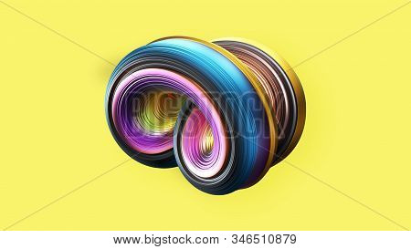 Abstract 3D spiral object on yellow background. Realistics rendering spiral shell. 3D illustration rendering stock photo