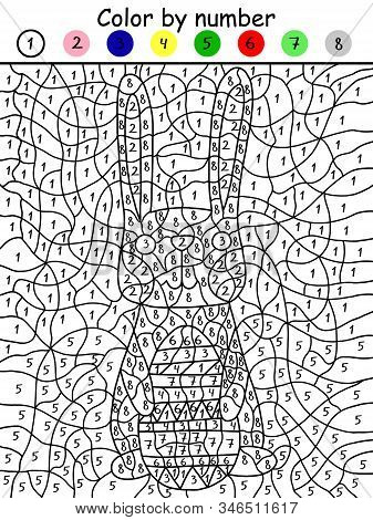 Fanny Easter bunny with colored egg color by number game. Printable paper math coloring game for kids. Educational visual brainteaser worksheet with cartoon bunny for coloring by 7 colors. stock photo