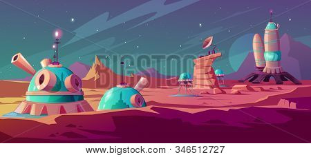 Landscape of Mars surface with colony buildings. Astronaut base on red planet. Vector cartoon futuristic illustration of space colonization, cosmos exploration concept. Space station in alien galaxy stock photo