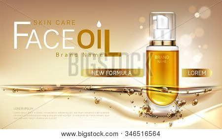 Face oil cosmetics bottle mock up banner, repair beauty skin care product pump tube with gold liquid on blurred background. Facial cosmetic package design, magazine ad Realistic 3d vector illustration stock photo