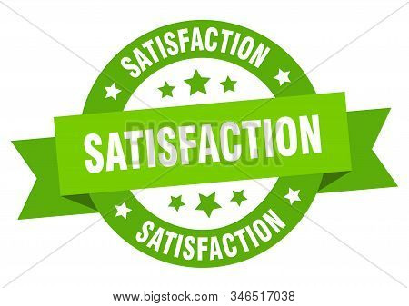 satisfaction ribbon. satisfaction round green sign. satisfaction stock photo