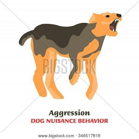 Dog behavior problem icon. Domestic animal or pet language. Aggressive dog. Bitting. Doggy reaction. Simple icon, symbol, sign. Editable vector illustration isolated on white background stock photo