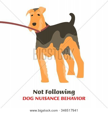 Dog behavior problem icon. Domestic animal or pet language. Not following dog. Leash aggression. Doggy reaction. Simple icon, symbol, sign. Editable vector illustration isolated on white background stock photo