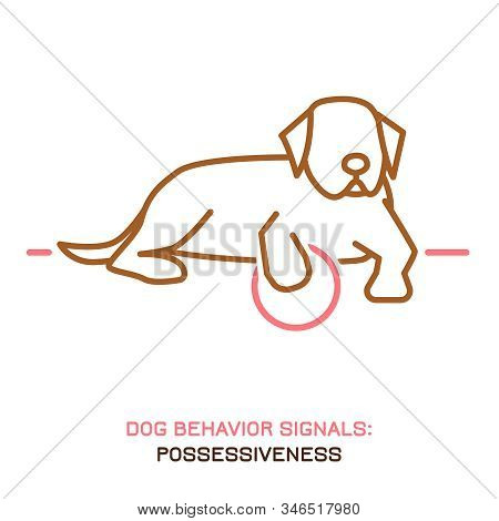 Dog behavior problem icon. Domestic animal or pet language. Possessive dog. Doggy aggressive reaction. Simple icon, symbol, sign. Editable vector illustration isolated on white background stock photo
