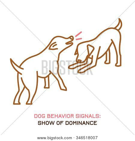 Dog behavior icon. Domestic animal or pet language. Dominant labrador. Aggressive reaction. Bad signal. Simple icon, symbol, sign. Editable vector illustration isolated on white background stock photo