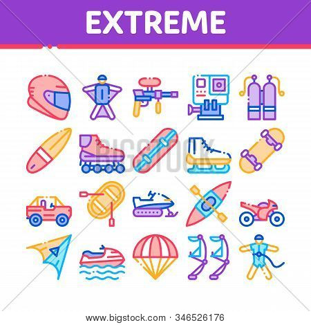 Extreme Sport Activity Collection Icons Set Vector Thin Line. Bike And Crash Helmet, Parachute And Hang-glider Equipment For Extreme Active Concept Linear Pictograms. Color Contour Illustrations stock photo
