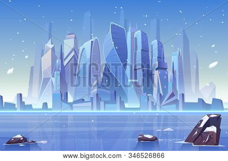 Winter city skyline at frozen waterfront bay. Futuristic metropolis architecture view under fallen snow. Luxury megapolis buildings, urban skyscrapers cityscape background. Cartoon illustration stock photo
