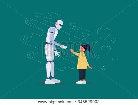 Ai. Robotic friend for a little girl flat. Ai. Robot holding a little girl hand. Futuristic assistant, nanny for children of a linear nature. The invention of artificial intelligence for child safety. Vector stock photo