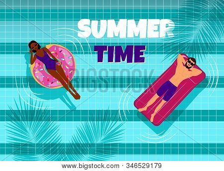 Summer, african american and guy in the pool. Hello Summer, summer time, summer day, summer day background, summer banners, summer flyer, summer design, summer with people in the pool, vector illustration.  Eps10 vector illustration stock photo
