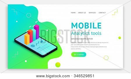Mobile analytics tools isometric landing page concept. 3d graph data on smartphone screen on abstract fluid background. Vector illustration for app, website template, SEO, marketing infographic stock photo