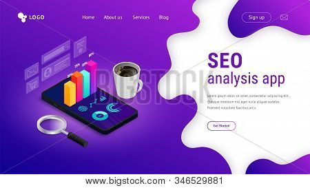 Digital analytics SEO isometric landing page concept with 3d graph data on phone screen. Marketing research, statistics report for business. Vector illustration for mobile app, infographic, web, ui stock photo