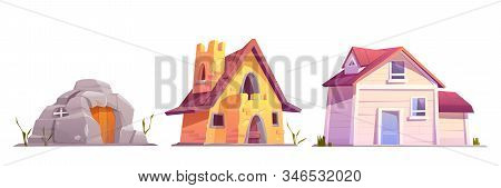 Evolution house architecture set. Dwellings time line from ancient stone construction to modern cottage front view isolated on white background. Housing technology progress Cartoon illustration stock photo