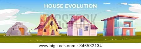 House evolution architecture. Dwellings time line from ancient stone construction to modern cottage front view on summer nature background. Housing technology progress. Cartoon illustration stock photo