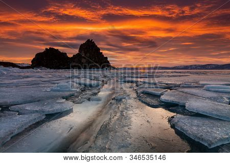 Shaman Rock or Cape Burhan on Olkhon in the winter. Lake Baikal, Siberia, Russia stock photo