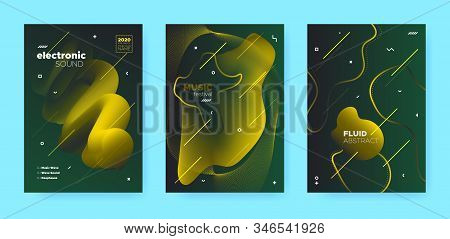 Abstract Flow Shapes. Disco Club Party Flyer. Luxury Music Background. Dj Sound. Vip 3d Movement Banner. Gradient Flow Shapes. Disco Party Template. Music Brochure. Green Abstract Flow Shapes. stock photo