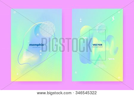 Yellow Pastel Shape. Abstract Gradient Illustration. Fresh Liquid Banner. Hologram Placard. Pastel Flow. Green Abstract Memphis Background. Blue Liquid Design. Music Pattern. Pastel Poster. stock photo