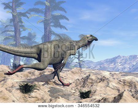 Beipiaosaurus dinosaur running on the hill - 3D render stock photo