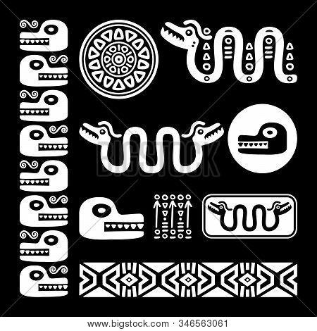 Abstract Maya and Aztec art animals and symbols, retro patterns set inspired by Mayan decorations stock photo
