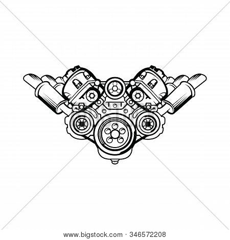 Engine icon isolated on white background. Engine icon simple sign. Engine icon trendy and modern symbol for graphic and web design. Engine icon flat vector illustration for logo, web, app, UI. stock photo