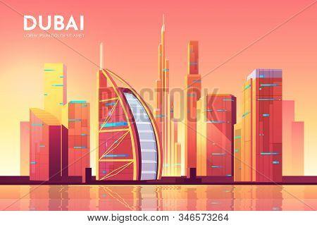 Dubai, UAE city view. Cityscape architecture background, modern megapolis skyline with futuristic buildings reflecting at Persian Gulf waterfront. United Arab Emirates Cartoon illustration stock photo