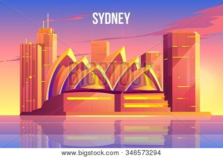 Sydney city skyline, Australia world famous tourist architecture symbol near waterfront, megapolis with skyscrapers reflecting in water surface at morning or evening time. Cartoon illustration stock photo