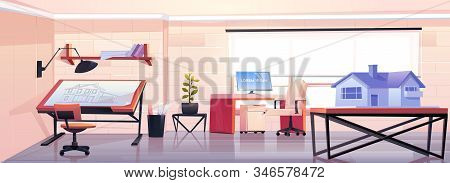Architect office with blueprint and house mock up projection. Empty designer studio workspace interior design with adjustable drawing desk and table with building model. Cartoon illustration stock photo
