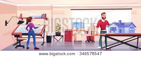 Architects working in office with blueprint and building mockup. Designers man and woman create house project in design studio workshop or engineer room, artist workspace Cartoon illustration stock photo